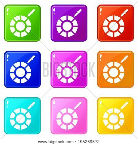 Color picker icons of 9 color set isolated vector illustration