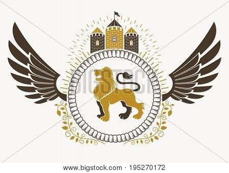 Classy emblem made with bird wings decoration wild lion and medieval stronghold. Vector heraldic Coat of Arms.