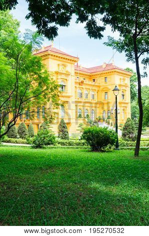 The Presidential Palace in Hanoi, Vietnam, was built between 1900 and 1906 as the former governor's residence.