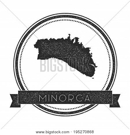 Minorca Map Stamp. Retro Distressed Insignia. Hipster Round Badge With Text Banner. Island Vector Il