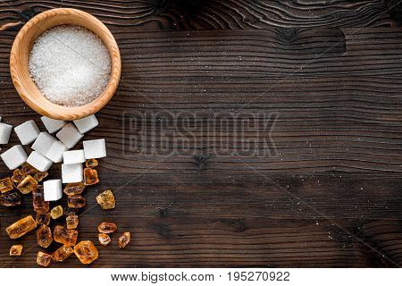 lumps of sugar with bowls sweet set on wooden kitchen table background top view mockup