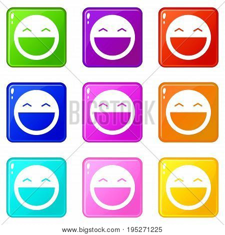 Laughing emoticons of 9 color set isolated vector illustration