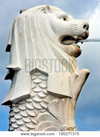 View of the Merlion statue landmark of Singapore