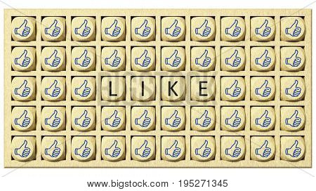 3d rendering of wooden cubes with thumbs up and the word like
