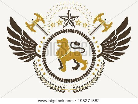 Vintage winged emblem created in vector heraldic design and composed using wild lion illustration laurel wreath and pentagonal stars.