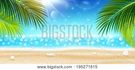 Summer holidays on tropical beach. Vector illustration