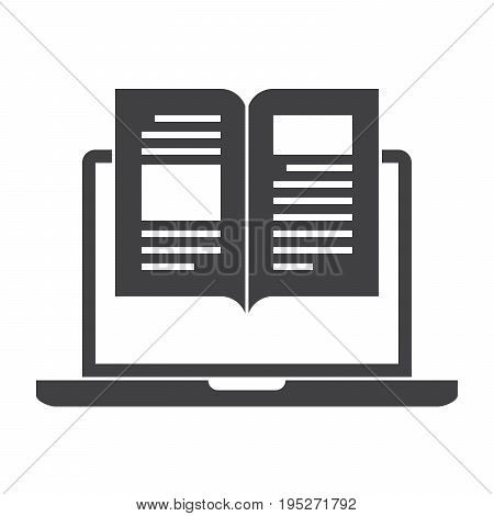 eBook concept with laptop and book, vector silhouette