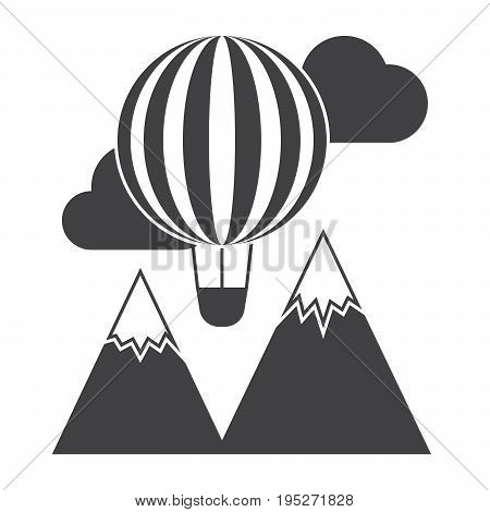 Travel and explore concept with balloon and mountain