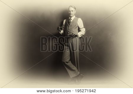 Antique Plate Photo Of Businessman 1920S Style Holding Glass Of Whiskey And Cigar.