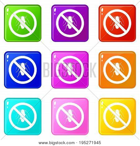 No cockroach sign icons of 9 color set isolated vector illustration