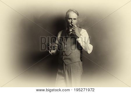 Antique Plate Photo Of Vintage Businessman 1920S Style Smoking Cigar And Holding Glass Of Whiskey.