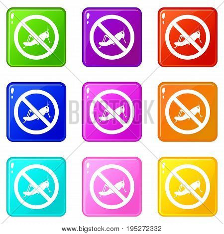 No locust sign icons of 9 color set isolated vector illustration