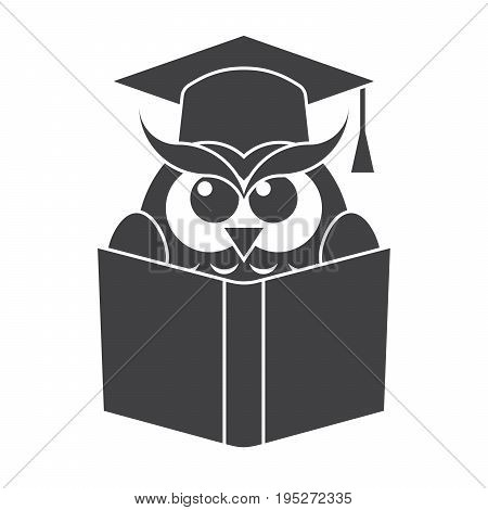 Education concept, owl with book in graduation cap, vector silhouette
