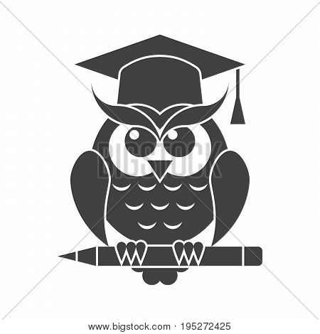 Wisdom concept with owl in graduation cap, vector silhouette