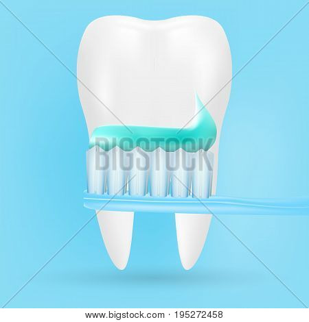 Realistic Tooth And Toothbrush Poster Stomatology Icon Isolated On A Background. Realistic Vector Illustration.Dental concept