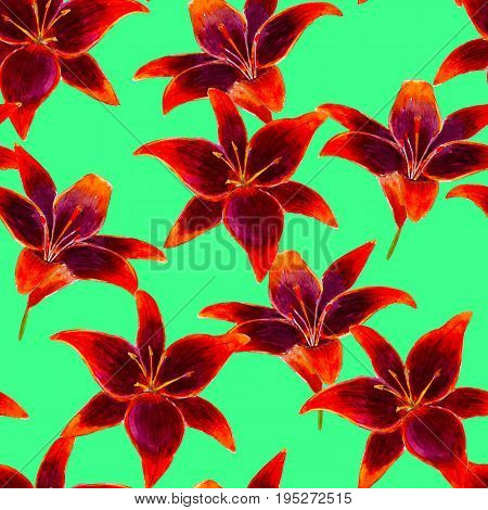 Lilium flower watercolor seamless pattern. Bright tropical flowers isolated on green background hand-drawn design for background textile wrap and etc.