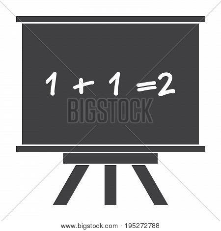Whiteboard for mathematics icon, black vector silhouette