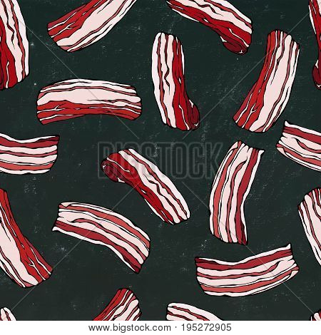 Pork Bacon Seamless. IIsolated on a Black Chalkboard Background. Food Pattern. Realistic Doodle Cartoon Style Hand Drawn Sketch Vector Illustration.