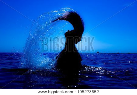 A mermaid emerges from the sea and her hair with water creates a silver fan lighted with the sun.