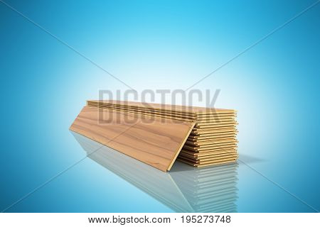 Set Of Wooden Laminated Construction Planks Isolated On Blue Background