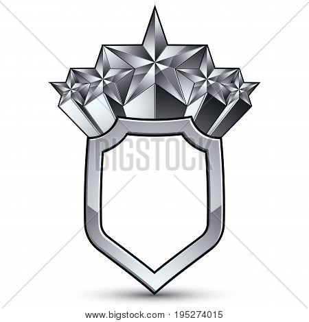 Branded gray geometric symbol with five stylized silver stars best for use in web and graphic design corporate vector silvery icon isolated on white background.