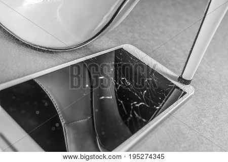 Shoes high heel breaks mobile phone black and white frame