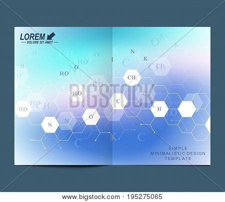 Modern vector template for brochure Leaflet flyer advert cover catalog, magazine or annual report. Business, science, medical design. Scientific hexagonal pattern, structure molecule. Card surface