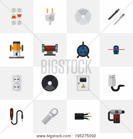 Set Of 16 Editable Instruments Icons. Includes Symbols Such As Breaker, Connection, Wire And More. Can Be Used For Web, Mobile, UI And Infographic Design.