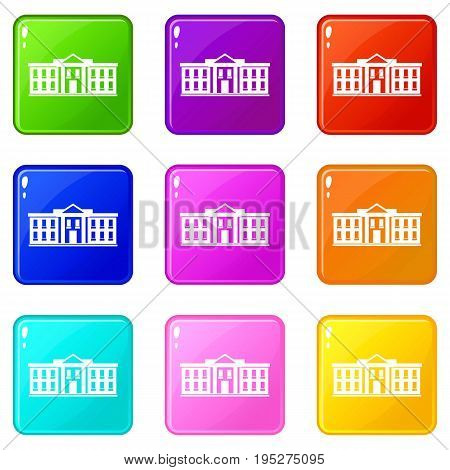 White house USA icons of 9 color set isolated vector illustration