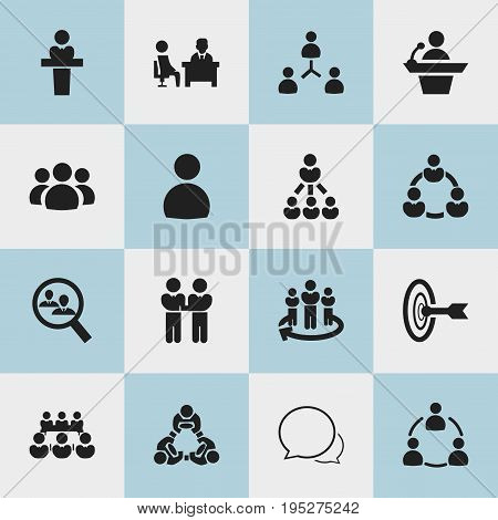Set Of 16 Editable Business Icons. Includes Symbols Such As Human Resouces, Goal, Meeting And More. Can Be Used For Web, Mobile, UI And Infographic Design.