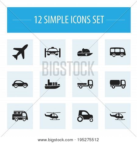 Set Of 12 Editable Transportation Icons. Includes Symbols Such As Vessel, Part Of Car, Tour Bus And More. Can Be Used For Web, Mobile, UI And Infographic Design.