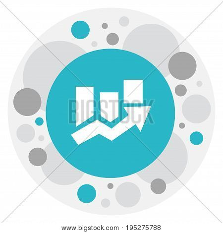 Vector Illustration Of Analytics Symbol On Arrow Up Icon. Premium Quality Isolated Upward Direction  Element In Trendy Flat Style.