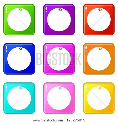 Mandarin icons of 9 color set isolated vector illustration