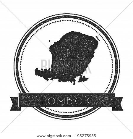 Lombok Map Stamp. Retro Distressed Insignia. Hipster Round Badge With Text Banner. Island Vector Ill