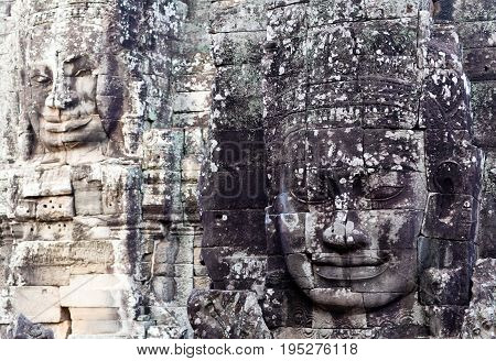 Giant Stone Faces At Prasat Bayon Temple, Cambodia
