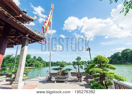Temple of the Jade Mountain on Jade Island, in the middle of Hoan Kiem Lake in central Hanoi.