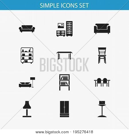 Set Of 12 Editable Furnishings Icons. Includes Symbols Such As Trestle, Armhair, Bookshelf And More. Can Be Used For Web, Mobile, UI And Infographic Design.