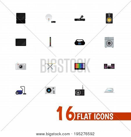 Set Of 16 Editable Tech Icons. Includes Symbols Such As Palmtop, Screen, Tuner And More. Can Be Used For Web, Mobile, UI And Infographic Design.