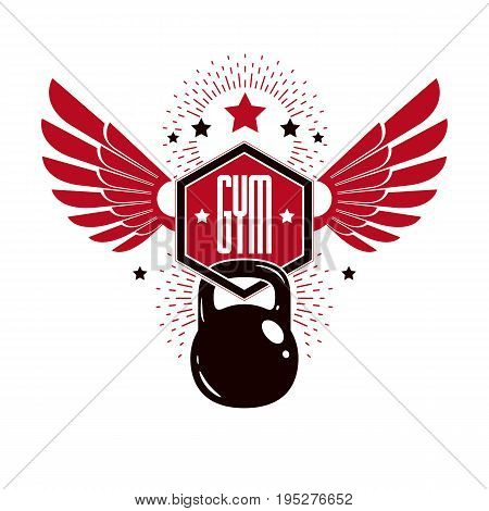 Bodybuilding and fitness sport logo templates retro style vector emblem with wings. With kettlebell.