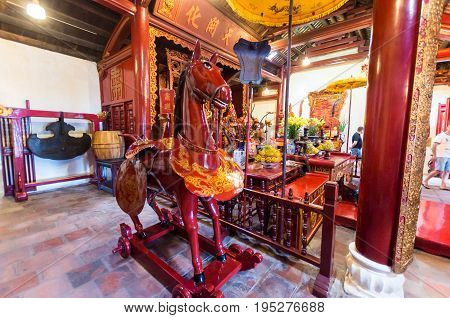 Hanoi, Vietnam - August 16, 2015: Interior of the Temple of the Jade Mountain on Hoan Kiem Lake in central Hanoi.