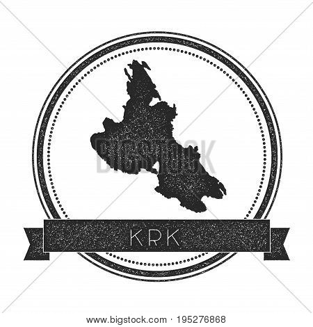Krk Map Stamp. Retro Distressed Insignia. Hipster Round Badge With Text Banner. Island Vector Illust