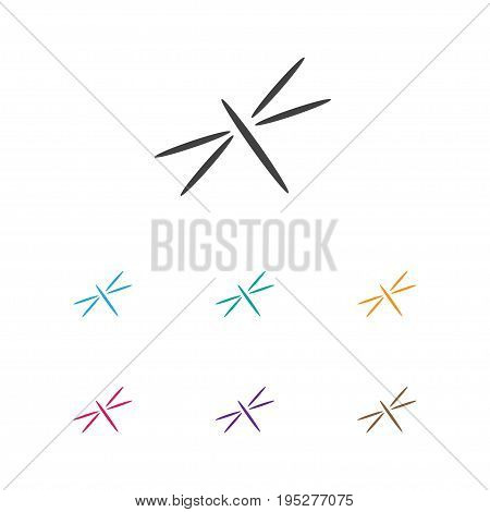 Vector Illustration Of Trip Symbol On Dragonfly Icon. Premium Quality Isolated Damselfly Element In Trendy Flat Style.