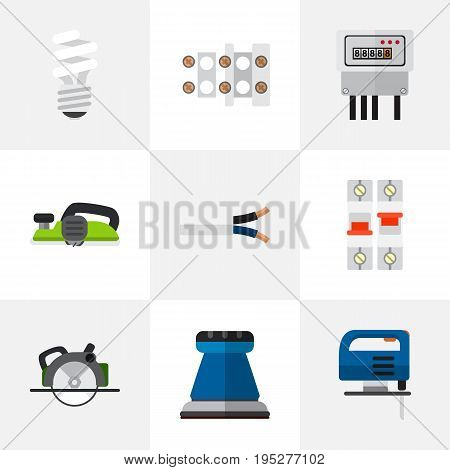 Set Of 9 Editable Instruments Icons. Includes Symbols Such As Electric, Emery Paper, Buzzsaw And More. Can Be Used For Web, Mobile, UI And Infographic Design.