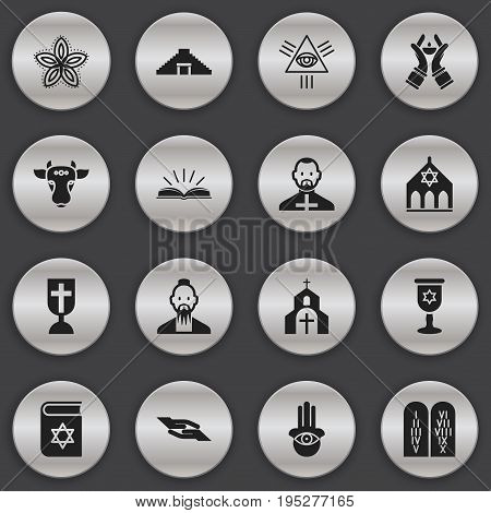 Set Of 16 Editable Dyne Icons. Includes Symbols Such As Temple, Bible, Indian Flower And More. Can Be Used For Web, Mobile, UI And Infographic Design.