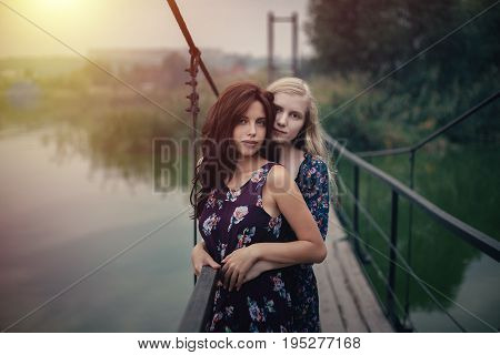 Lesbian Couple Together Outdoors Concept