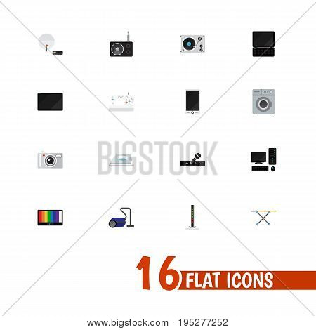 Set Of 16 Editable Technology Icons. Includes Symbols Such As Sweeper, Personal Computer, Microphone And More. Can Be Used For Web, Mobile, UI And Infographic Design.