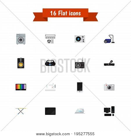 Set Of 16 Editable Home Icons. Includes Symbols Such As Microphone, Palmtop, Laundromat And More. Can Be Used For Web, Mobile, UI And Infographic Design.