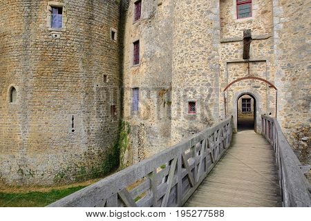 ST MESMIN, FRANCE - JULY 9, 2017: The main entrance to St Mesmin castle in Saint Andre sur Sevres, Deux Sevres