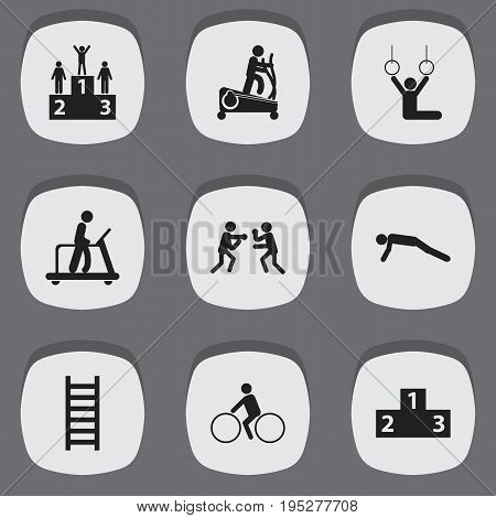 Set Of 9 Editable Lifestyle Icons. Includes Symbols Such As Instruction Male, Physical Education, Stairway And More. Can Be Used For Web, Mobile, UI And Infographic Design.