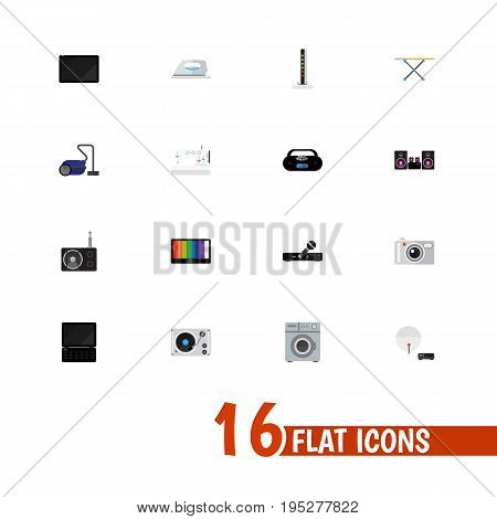 Set Of 16 Editable Tech Icons. Includes Symbols Such As Camera, Notebook, Sweeper And More. Can Be Used For Web, Mobile, UI And Infographic Design.